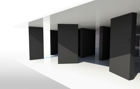 Gallery Interior with vertical black patition photo