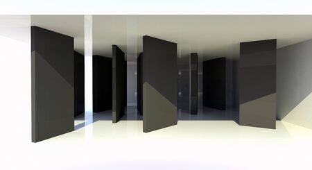 Room with black partition, abstract architecture - 3d illustration  illustration