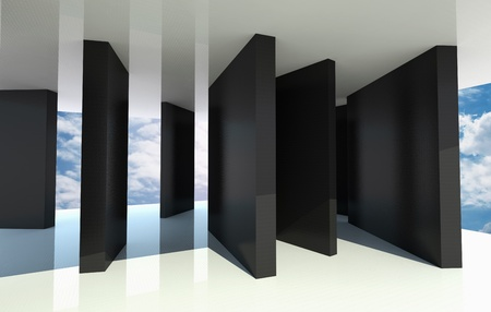 Abstract architecture with black partition and blue sky on background photo