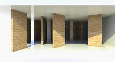 tabique: Habitaci�n con madera partici�n, arquitectura abstracta - ilustraci�n 3d