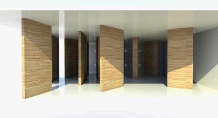 Room with wood partition, abstract architecture - 3d illustration