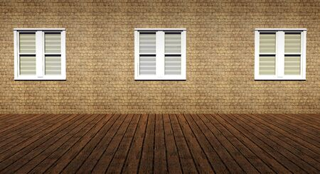 Three windows in grunge interior room photo