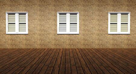 Three windows in grunge interior room Stock Photo - 15390371