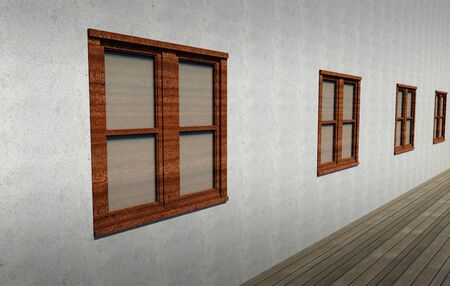 Closed windows in a grungy concrete wall Stock Photo - 15390372