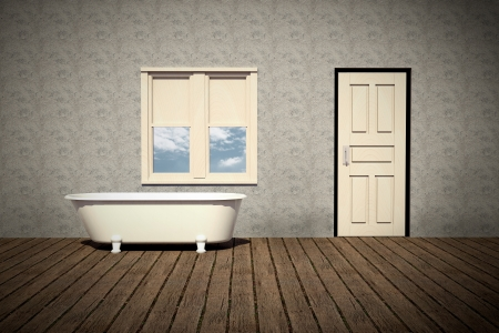 old style bathtub in a retro bathroom with plank wood floor photo