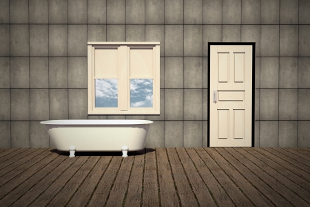 old style bathtub in a retro bathroom with plank wood floor and concrete wall photo