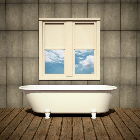 minimalist bathtub in a retro bathroom with plank wood floor photo