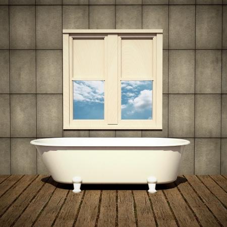 minimalist bathtub in a retro bathroom with plank wood floor Stock Photo - 15566796