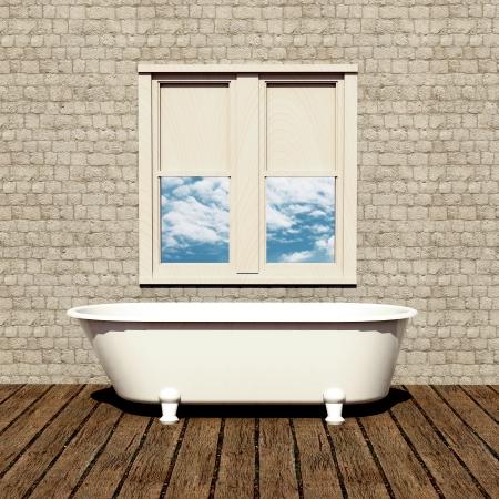 old style bathtub in a retro bathroom with plank wood floor Stock Photo - 15566798