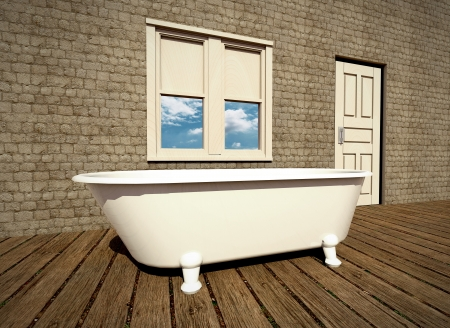 Retro bathroom with plank wood floor