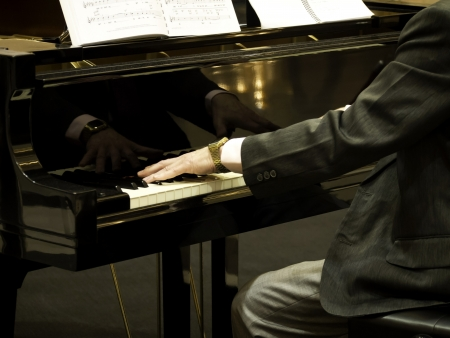Pianist playing the grand piano Stock Photo - 15682872