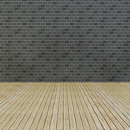 Wood Floor And Pattern Brick Wall Interior Stock Photo Picture And