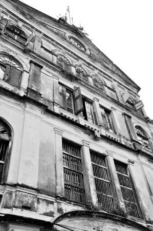 bangrak: Bangrak Fire Station, Historical Fire Station in Bangkok, Thailand, black and white processing