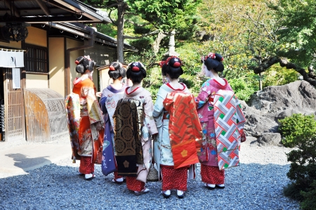 maiko: group of geisha girls shot from the back