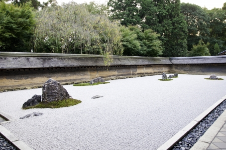 karesansui: A Zen Rock Garden in Ryoanji Temple In a garden fifteen stones on white gravel  Kyoto Japan