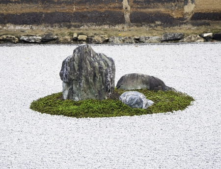 Zen Rock Garden in Ryoanji Temple In a garden fifteen stones on white gravel  Kyoto Japan