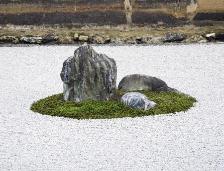 kyoto: Zen Rock Garden in Ryoanji Temple In a garden fifteen stones on white gravel  Kyoto Japan