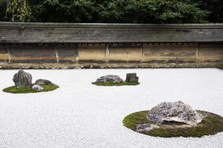 karesansui: Zen Rock Garden in Ryoanji Temple In a garden fifteen stones on white gravel  Kyoto Japan