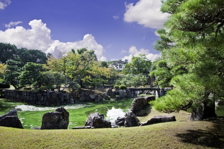 Pond and stone tea lights in a Japanese garden   photo