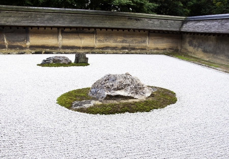 karesansui: Detail from a rock garden at the Ryoan-ji temple in Kyoto, Japan.  Stock Photo