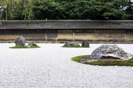 Zen Rock Garden in Ryoanji Temple.In a garden fifteen stones on white gravel. Kyoto.Japan.