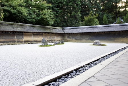 Rock garden (also called a Zen Garden) at the Ryoan-ji temple in Kyoto, Japan.  Stock Photo