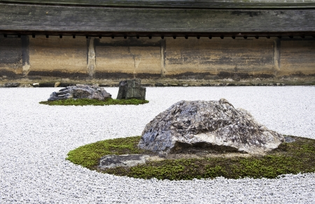 Detail from a rock garden at the Ryoan-ji temple in Kyoto, Japan.  Stock Photo