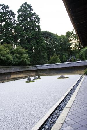 karesansui: Famous zen garden of the Ryoan-ji temple in Kyoto, japan