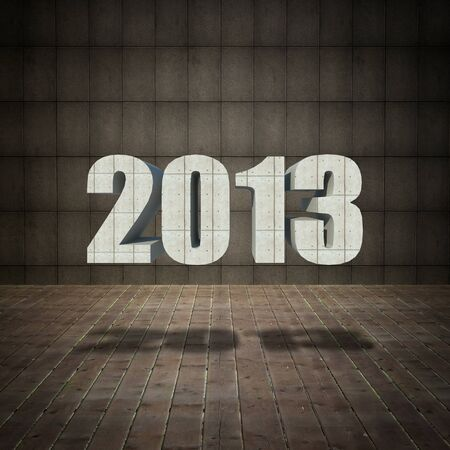 2013 new year with grunge concrete wall and old wood floor. photo