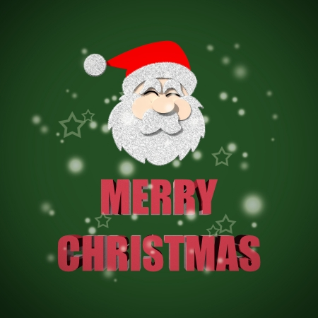 Merry Christmas lettering on green background photo