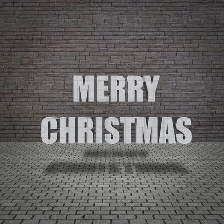 Merry Christmas with grunge concrete wall and old pavement  photo