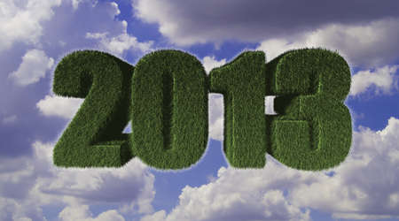 2013 New Year sign of green grass with blue sky. Eco concept  photo