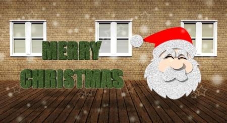 Merry Christmas with Santa Claus in grunge interior room photo