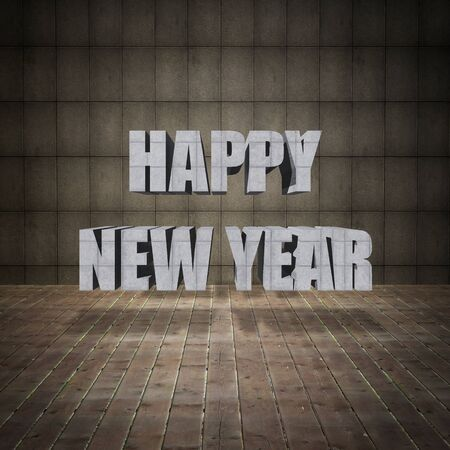 Happy New Year lettering with grunge concrete wall and old wood floor. photo