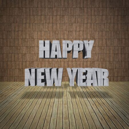Happy New Year lettering with limestone wall and wooden floor photo
