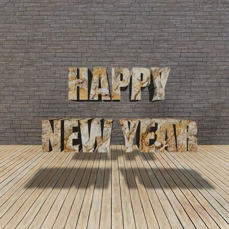 Happy New Year and grunge brick wall interior photo