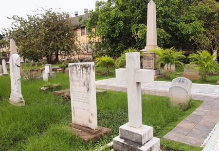 krung: Bangkok Protestant Cemetery, is located in the southern stretch of old Charoen Krung Road and preserves the memory of some of the early foreign pioneers who lived, worked and died in Bangkok.   Stock Photo
