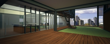 Realistic rendering of a modern office, with breathtaking view  photo