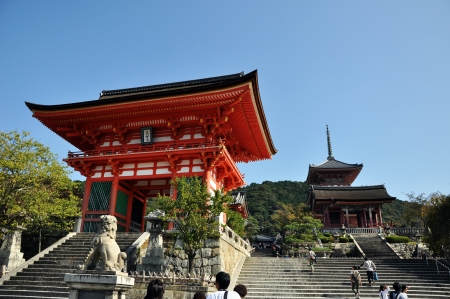 KYOTO- OCT 21: Entrance of Kyomizu Temple against blue sky on October 21, 2012 in Kyoto, Japan. Here, built in 1633 and, is one of the most famous landmark of Kyoto with UNESCO World Heritage.
