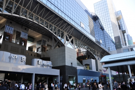 KYOTO, JAPAN - OCT 27: Kyoto Station is Japan's 2nd largest train station and its futurism architecture opened amid controversy in 1997 in the otherwise historical city October 27, 2012 in Kyoto, Japan.  Stock Photo - 17837906