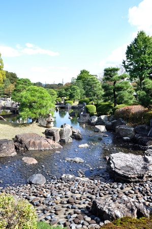 Garden with pond in japanese style in Nijo castle, Kyoto, Japan photo