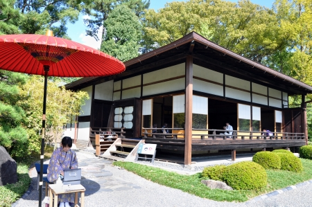 shogun: KYOTO- OCT 22  Tourist visit and drinking a japanese tea at Nijo castle, a famous tourist attraction, in Kyoto  on October 22, 2012, Nijo Castle was built in 1603 as the Kyoto residence of Tokugawa Ieyasu, the first shogun of the Edo Period  1603-1867   Editorial
