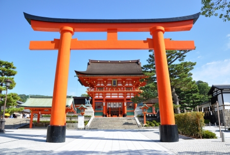 Wooden Torii Gates at Fushimi Inari Shrine, Kyoto, Japan