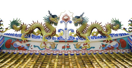 Chinese style dragon statue at roof of temple on white background photo