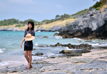 Beautiful young woman on beach summer holiday. Portrait of asian  photo