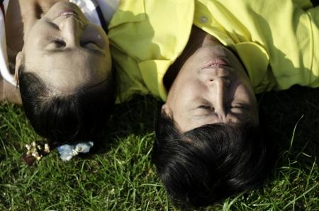 Seniors couple lying on grass outdoor Stock Photo - 18809953