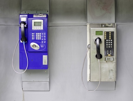 Two telephone booths in bangkok, Thailand photo