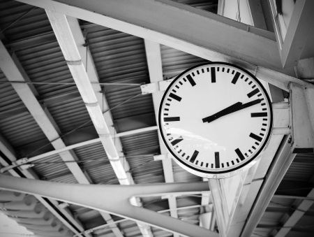Public clock in railway station, Bangkok, Thailand  photo