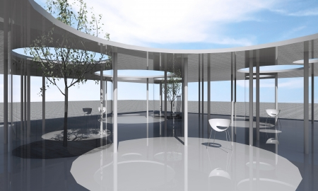 Interior of conceptual architecture with clear glass and column