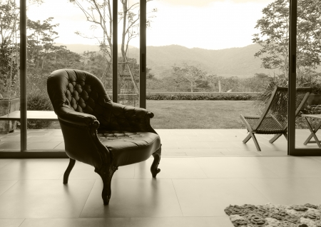 Vintage leather chair in room with nature background, sepia Stock Photo - 19895819